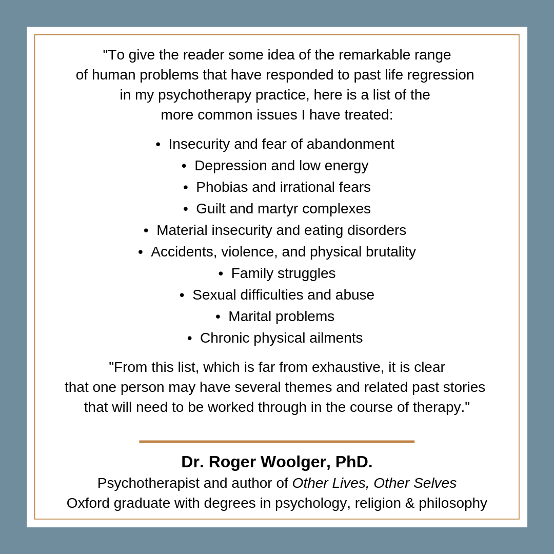 Flagstaff Past Lives Hypnotherapy - Roger Woolger